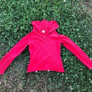 Tommy Jeans Quarter Zip Red Long Sleeve Sweater